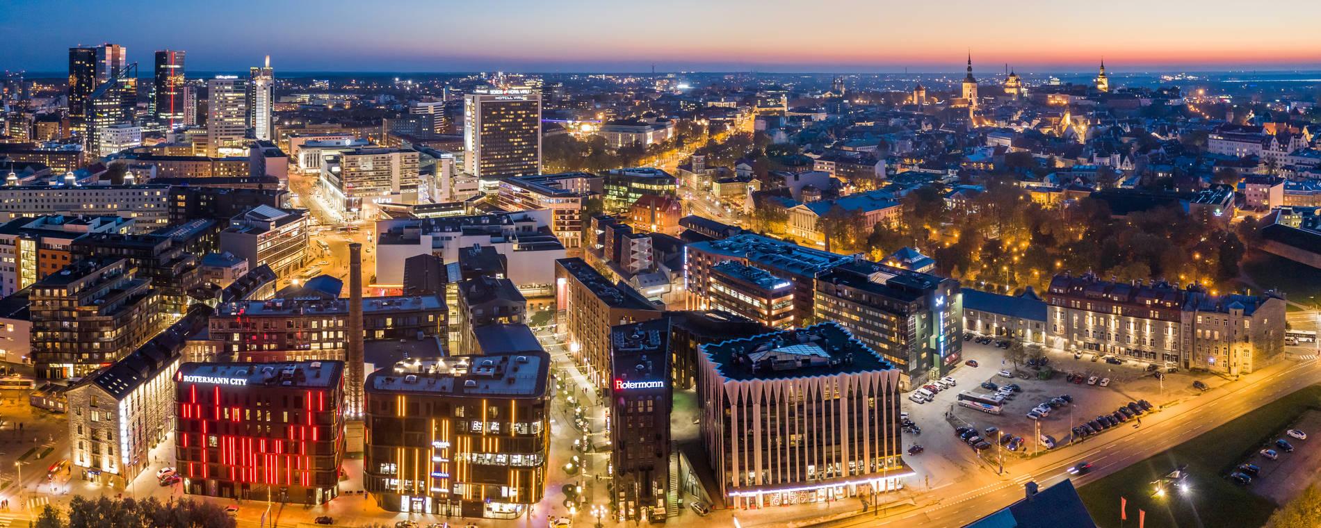 Tallinn city centre at night
