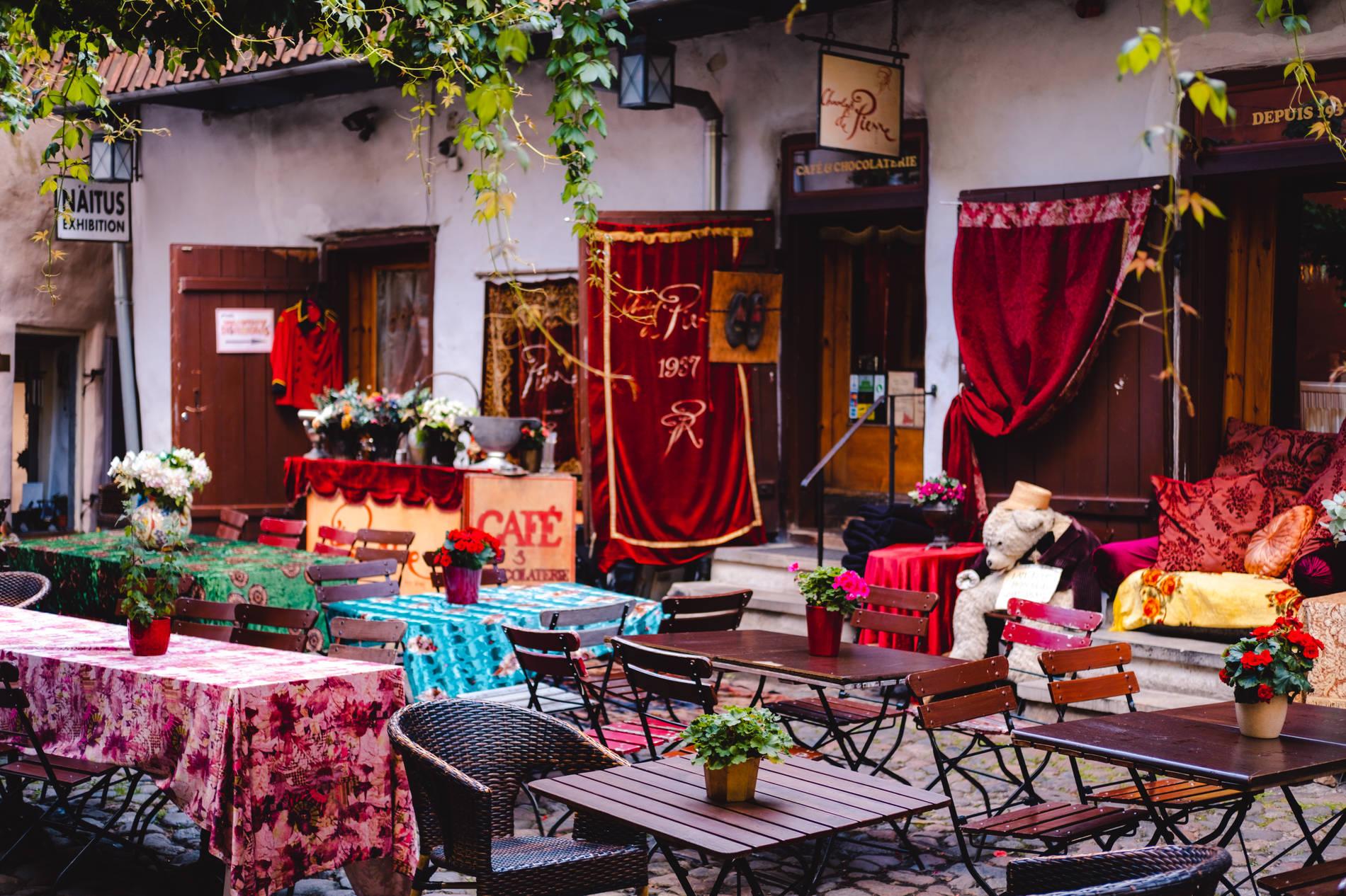 A café in the Master's Courtyard in Tallinn, Estonia