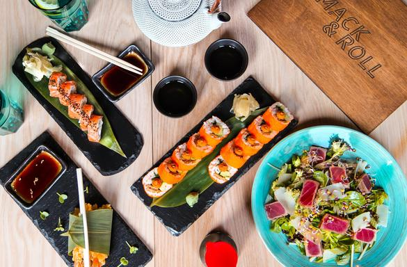 Sushi created in the Mack&Roll restaurant in the city center of Tallinn, Estonia.
