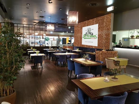 Interior of the restaurant La Prima Pizza which is located in the city center of Tallinn, Estonia.