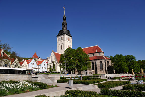 External view of the Niguliste Museum (St. Nicholas' Church) in the Old Town of Tallinn, Estonia.
