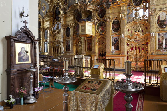 Interior of the Orthodox Church of the Transfiguration of Our Lord in Tallinn, Estonia.