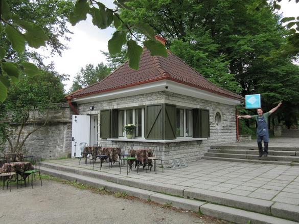 External view of the Kalambuur fish restaurant, located in the City Center of Tallinn, Estonia.