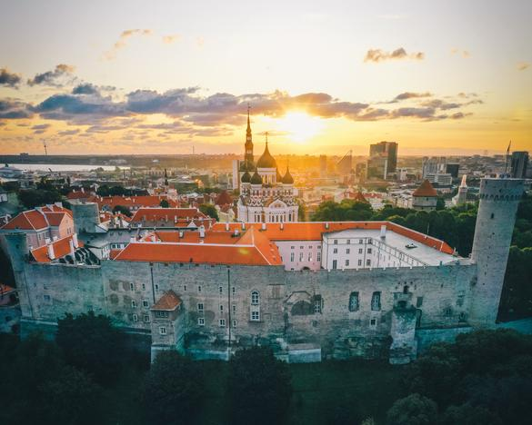 Aerial view of the St. Alexander Nevsky Cathedral in the middle of the Hill of Toompea in Tallinn, Estonia.