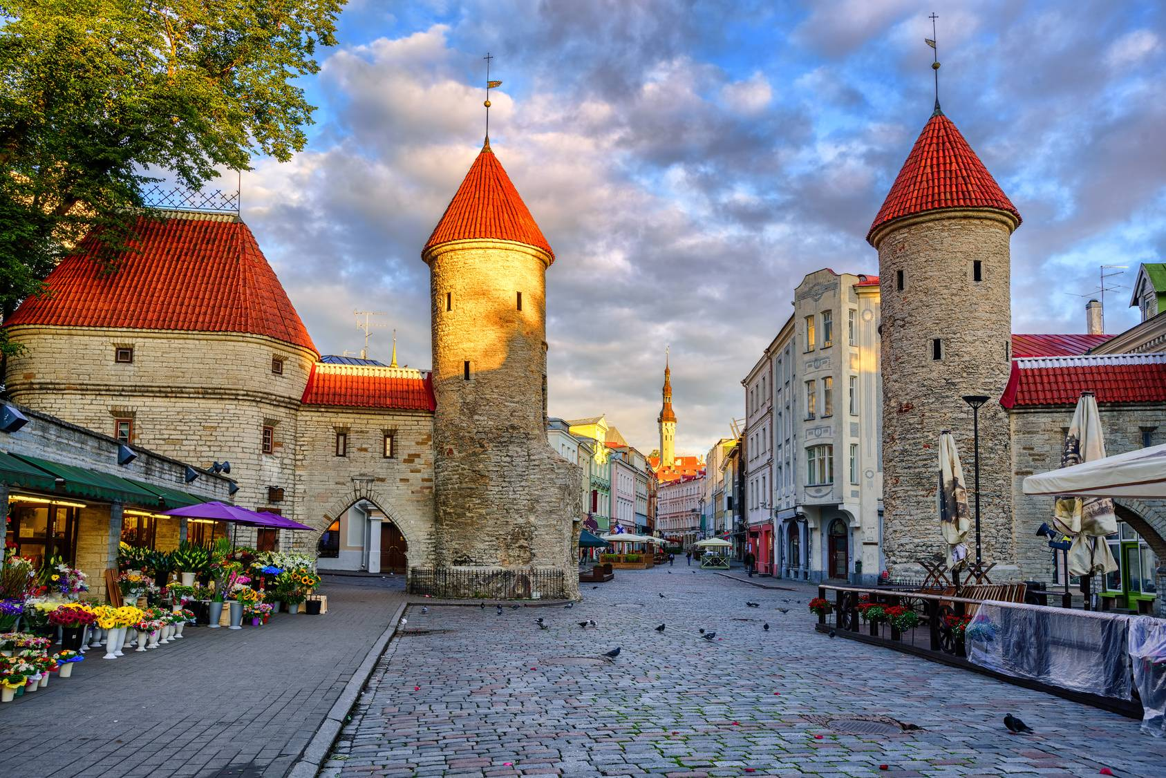Viru Gate in the Old Town of Tallinn, Estonia