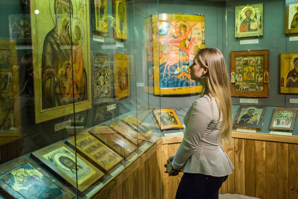 Interior view of The Museum of Russian Icons in the Old Town of Tallinn, Estonia.