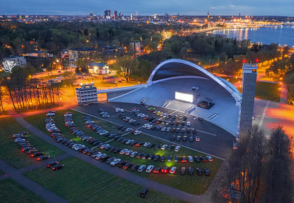 Aerial view of an event taking place at Tallinn Song Festival Grounds