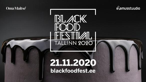 An entirely black cake at the Black Food Festival in Tallinn, Estonia
