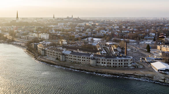 Aerial view of the Patarei Sea Fortress and the  Prison Museum in Tallinn, Estonia.