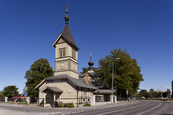 External view of the Church of St. Simeon and the Prophetess Hanna in Tallinn, Estonia.