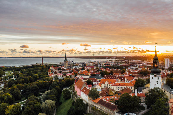Aerial view of Tallinn Old Town at sunrise in September