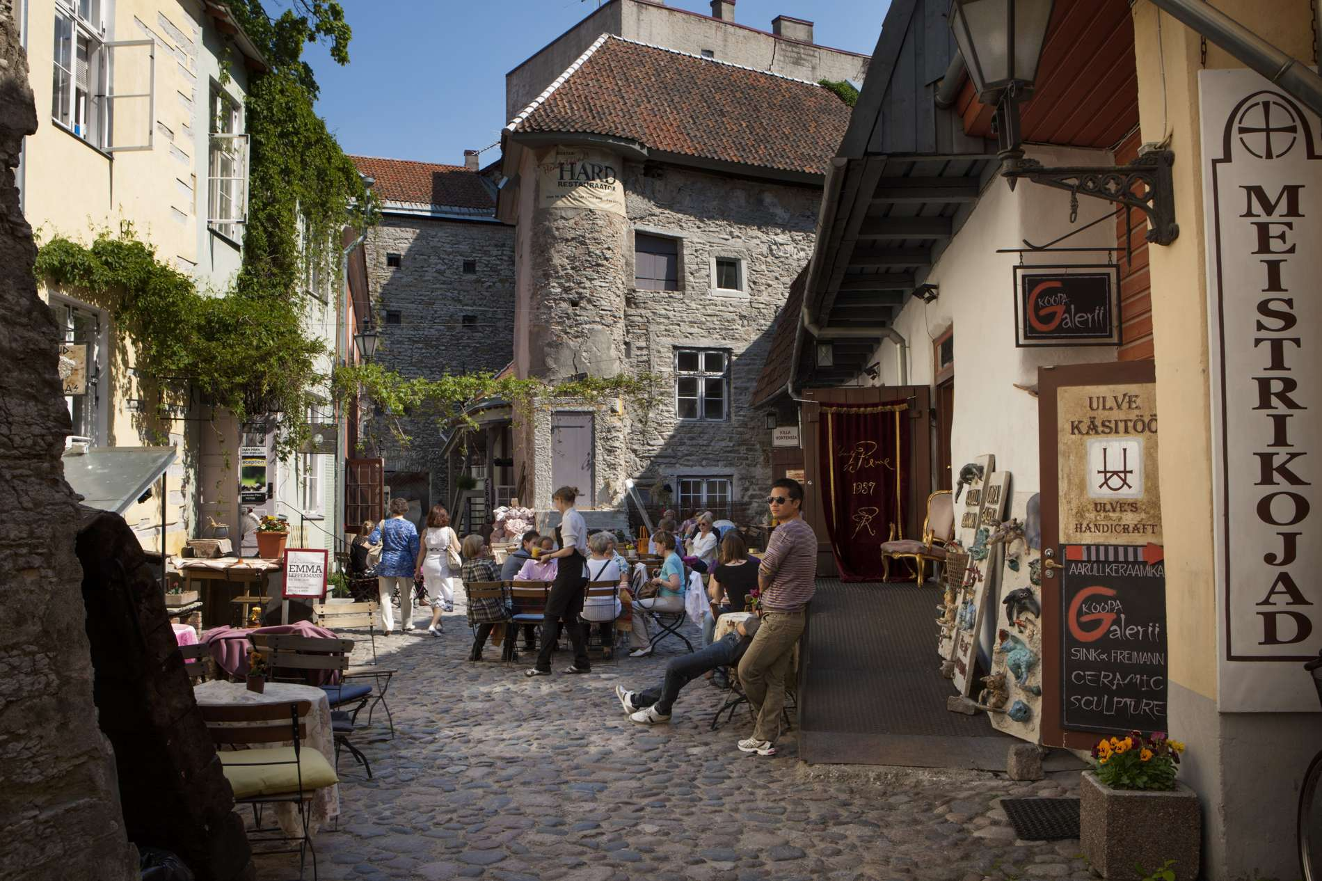 View to the Masters' Courtyard in the Old Town of Tallinn, Estonia.