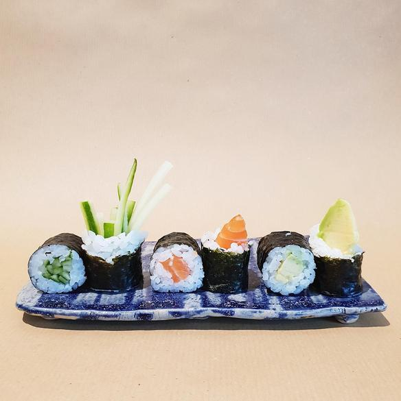 Sushi created in the Rull restaurant in the city center of Tallinn, Estonia.
