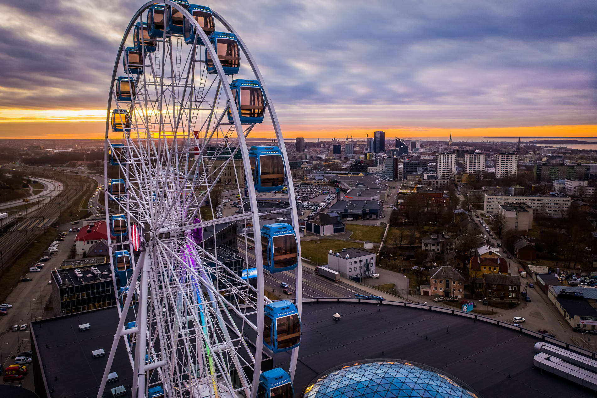 Skywheel of Tallinn and city view in the evening, Tallinn, Estonia.