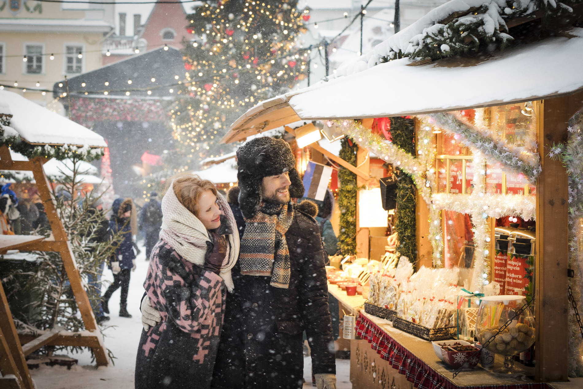 A couple at the Christmas market of Tallinn, Estonia