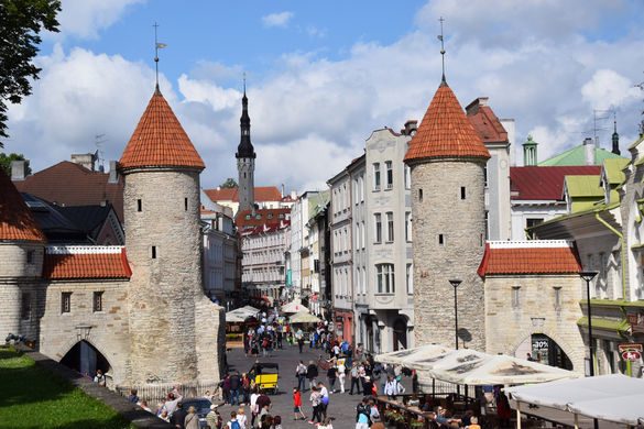 Viru Gates at the beginning of Old Town in Tallinn, Estonia.