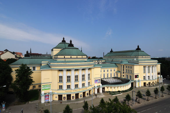 Aerial view of the Estonian National Opera House in Tallinn, Estonia.
