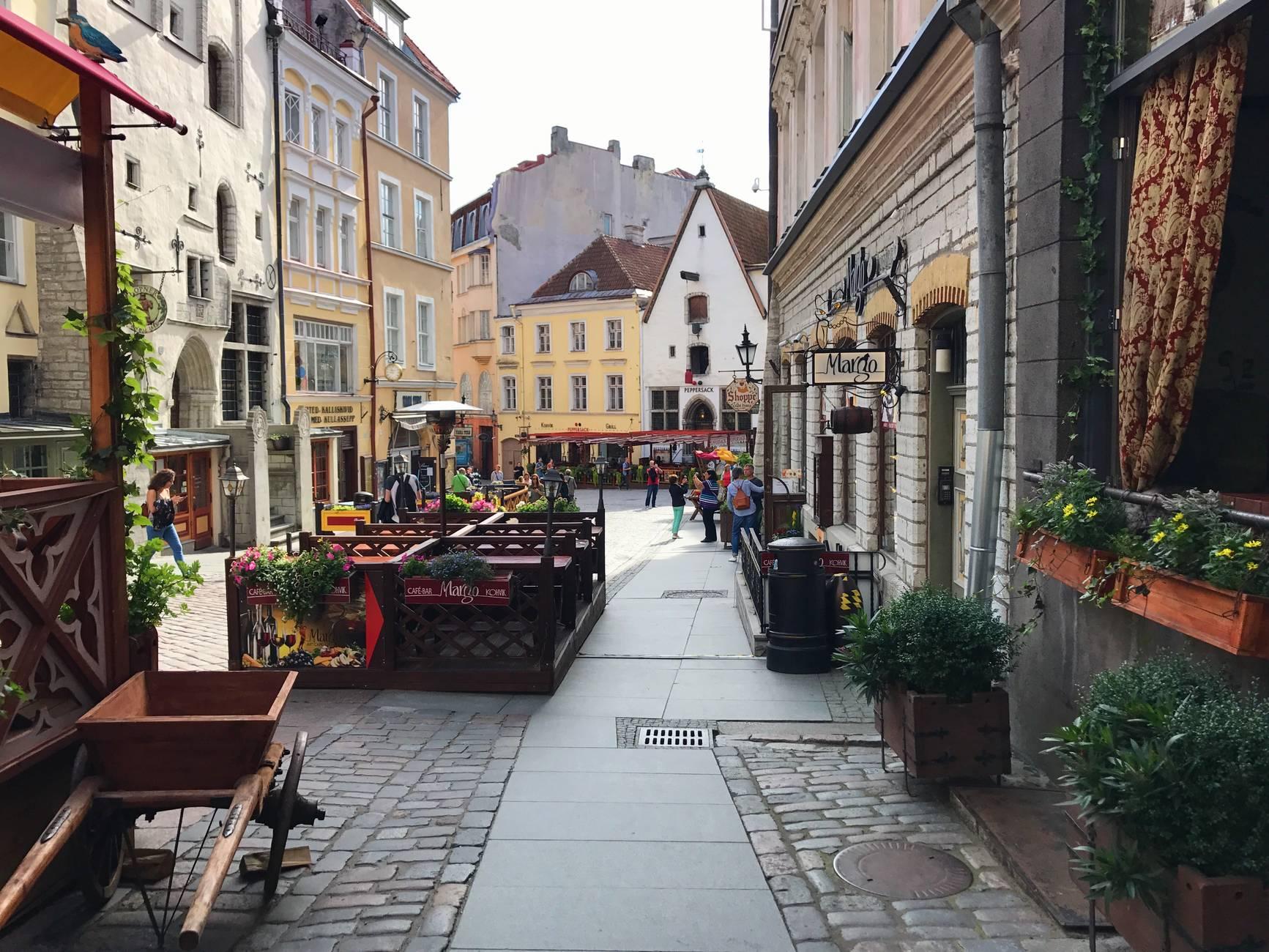 Medieval street in the Old Town of Tallinn, Estonia