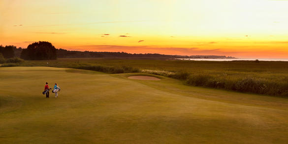 View of the Estonian Golf & Country Club (EGCC) near Tallinn, Estonia during a sunset.