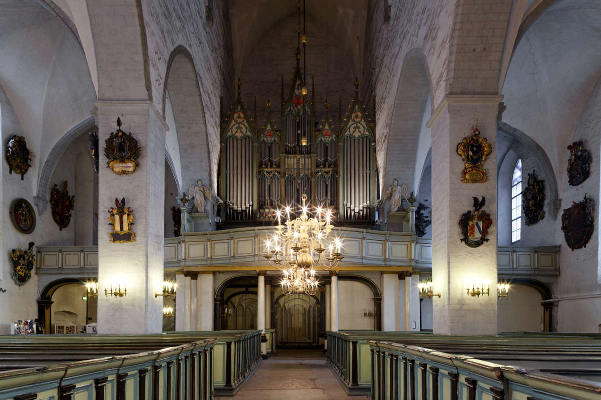 Interior view of the Cathedral of Saint Mary the Virgin in Tallinn, Estonia.