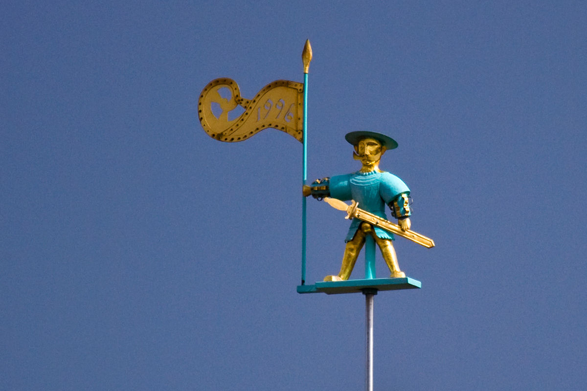 Old Thomas wather vane at the top of the Tallinn Town Hall tower in Estonia