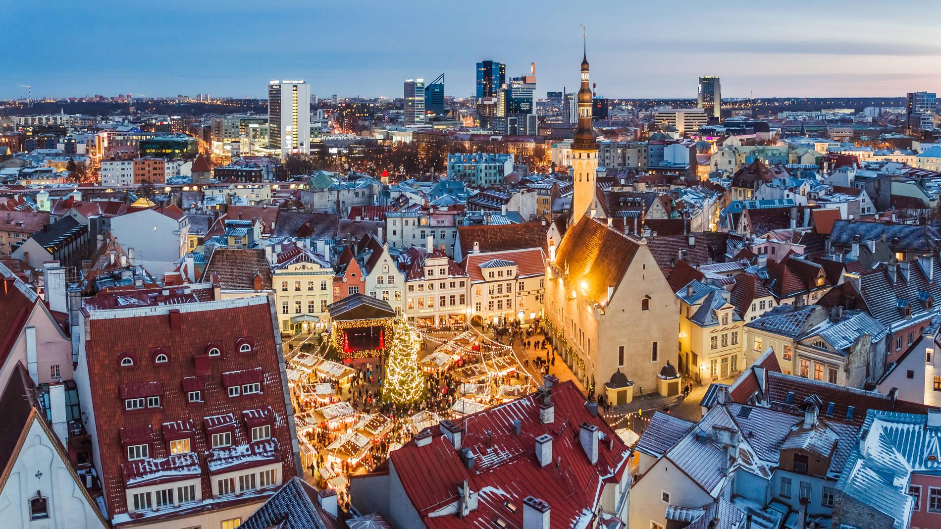 Christmas market in the Old Town of Tallinn, Estonia