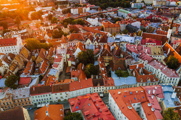 Aerial view, taken during the Creators Camp, of the red rooftops of the medieval Old Town in Tallinn, Estonia.