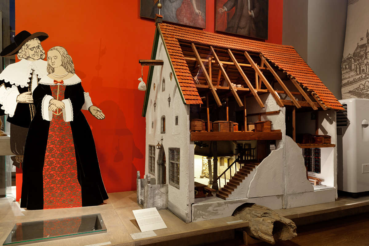 Model of the medieval house at the Tallinn City Museum in Tallinn, Estonia.