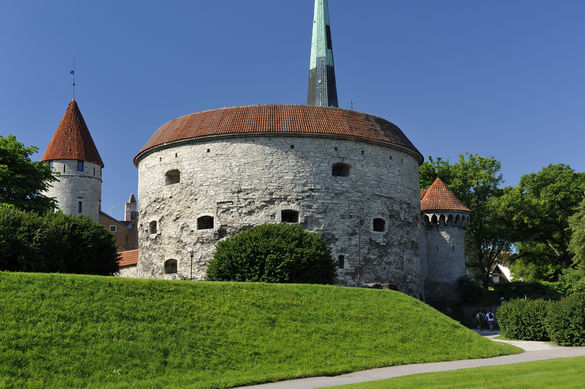 External view of the Great Coastal Gate and Fat Margaret Tower in the Old Town of Tallinn, Estonia.