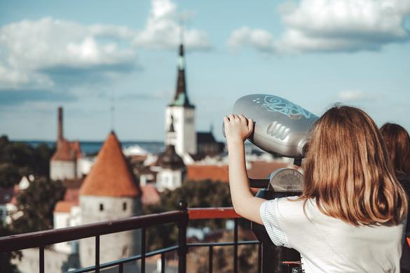 A girl on a viewing platform in Tallinn, Estonia