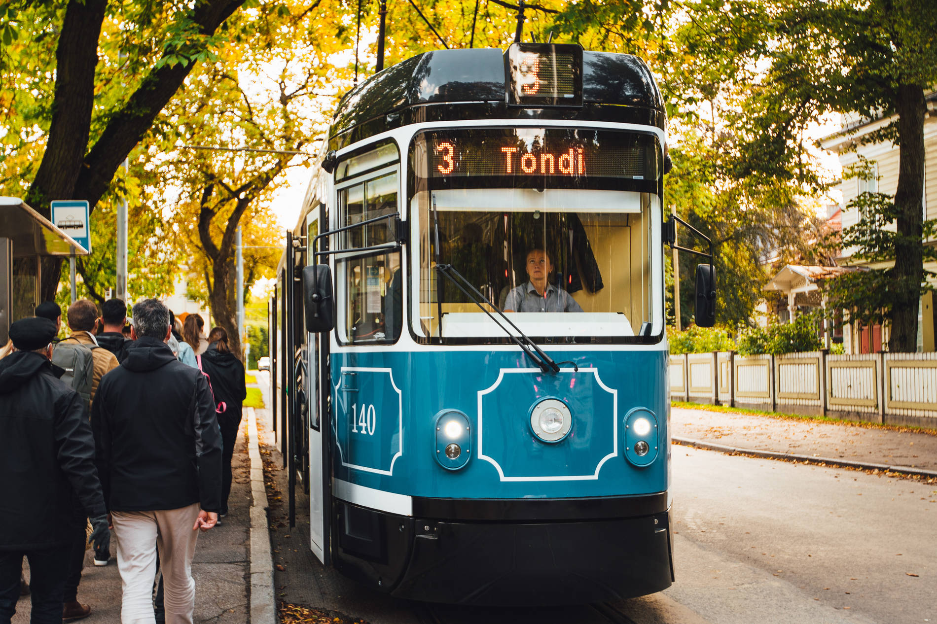 Tram in Kadriorg, Tallinn, Estonia.