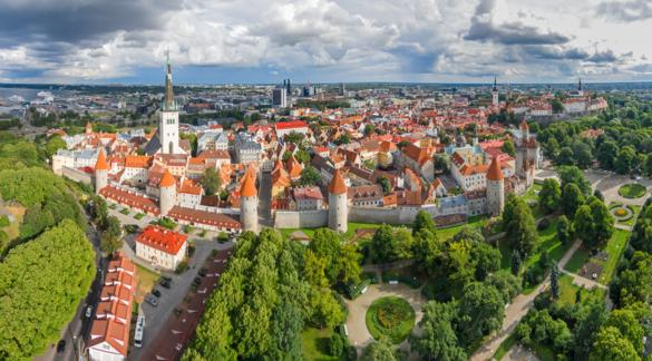 Aerial view of the Towers Square and Snelli park on the edge of the Old Town of Tallinn, Estonia.