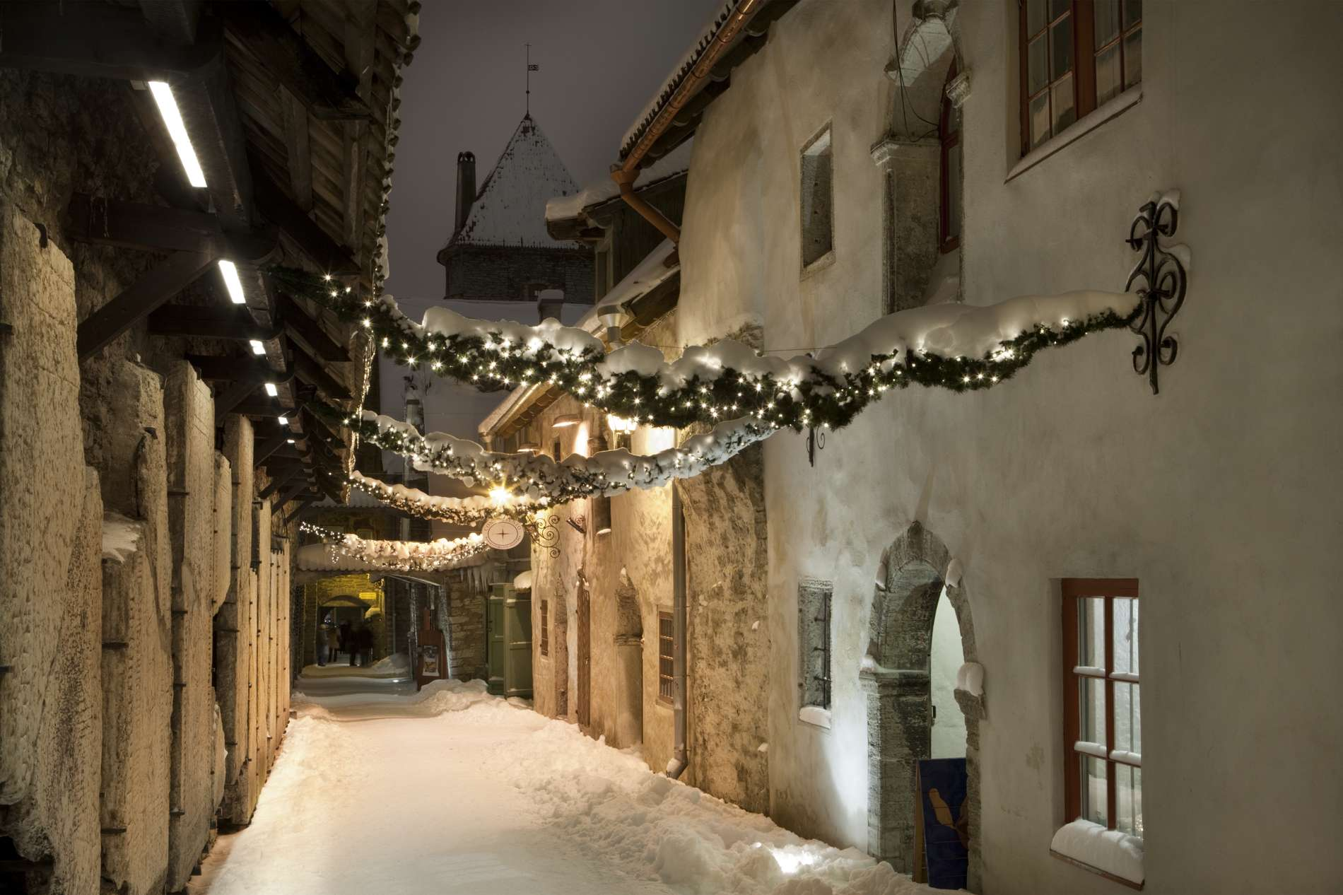 St. Catherine's Passage (Katariina käik) in the Old Town of Tallinn, Estonia in winter.