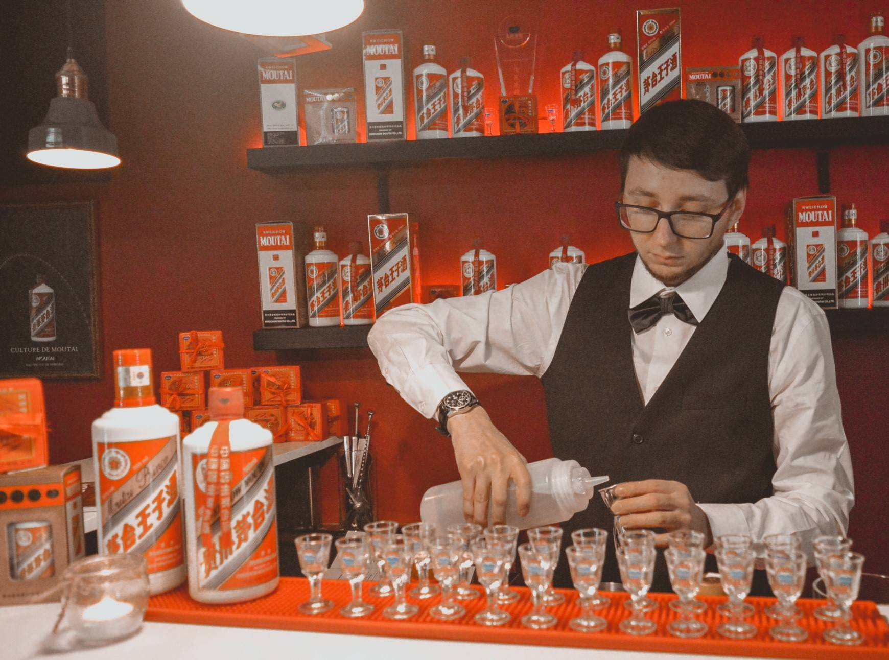 Bartender at the Moutai Bar in the Old Town of Tallinn, Estonia