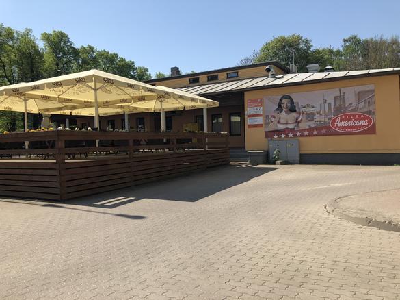 External view of the restaurant Pizza Americana in the City Center of Tallinn, Estonia.