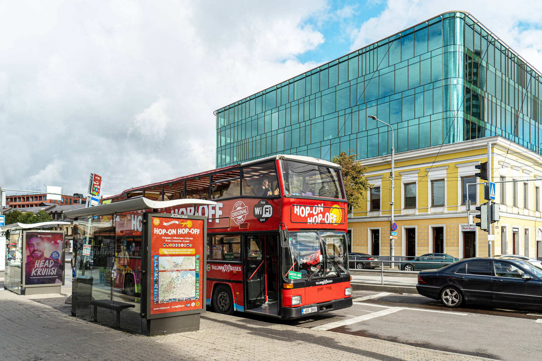 City Tour, Hop on Hop off bus in centre town of Tallinn, Estonia.