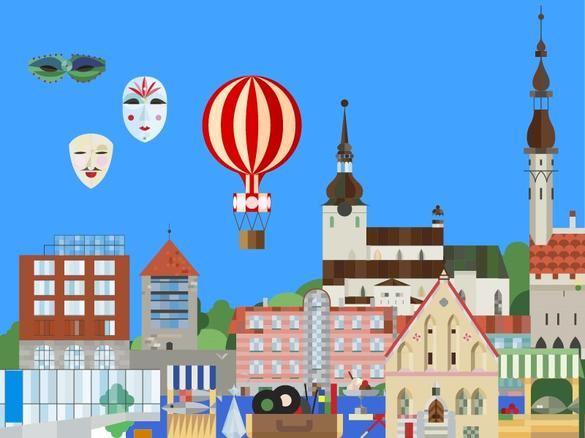 Tallinna värviline joonistatud graafiline siluett Matka messiks, Tallinn, Eesti