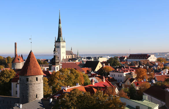 View of the Old Town of Tallinn in autumn