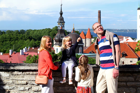 People at the Patkuli Viewing Platform in the Old Town of Tallinn, Estonia.