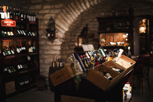 Internal view of te Gloria Wine Cellar full on different wines in Tallinn, Estonia.