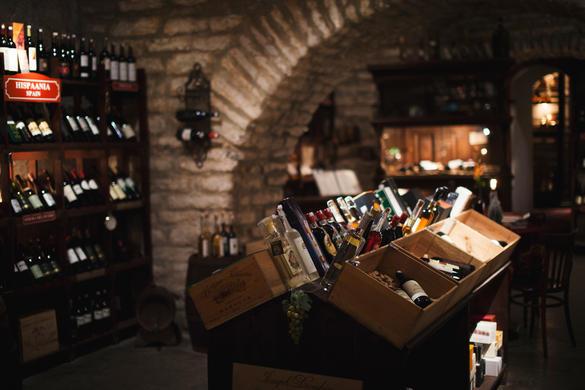 Internal view of te Gloria Wine Cellar full on different wines in Tallinn, Estonia.