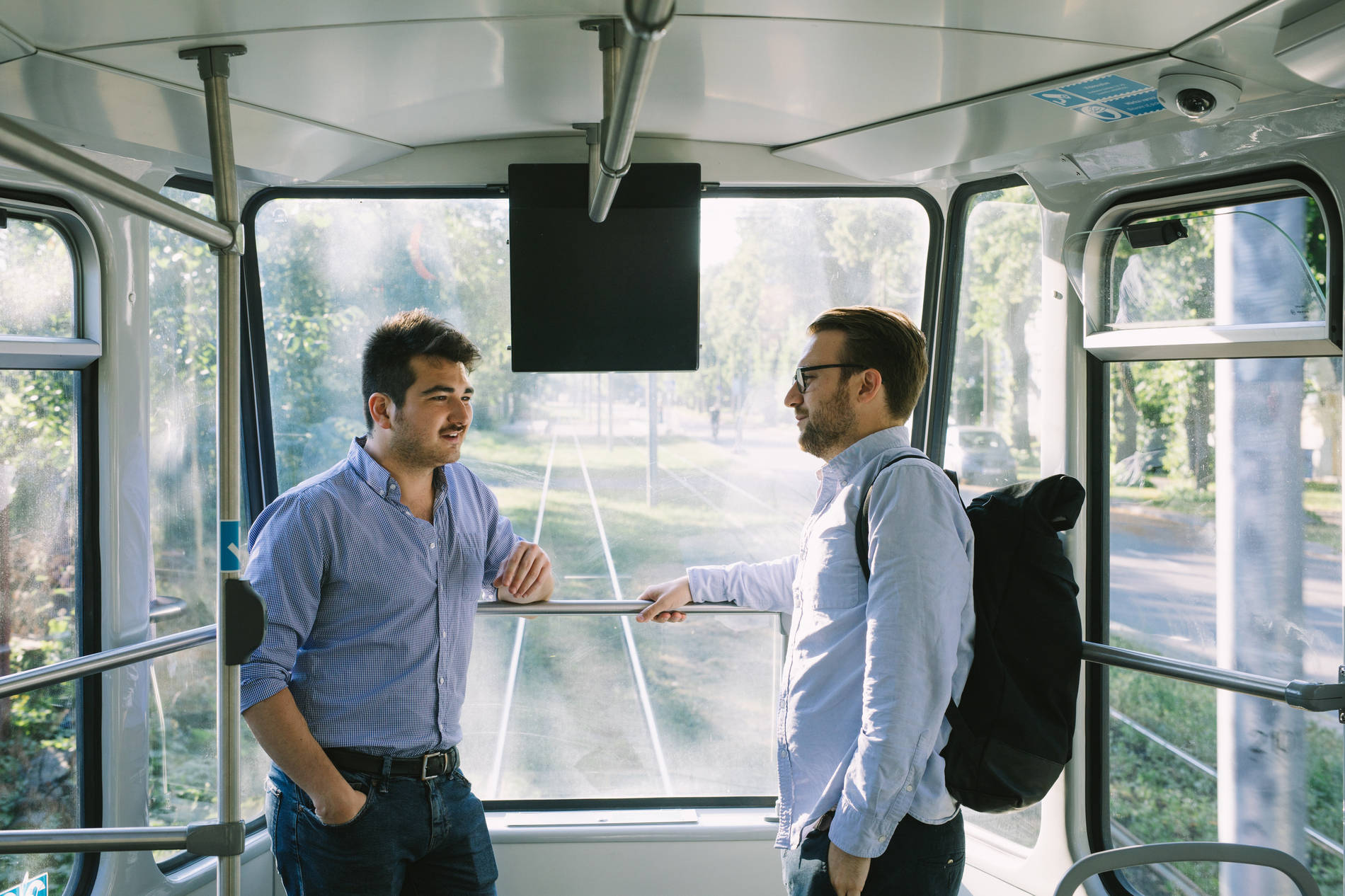 Men in a tram in Tallinn, Estonia