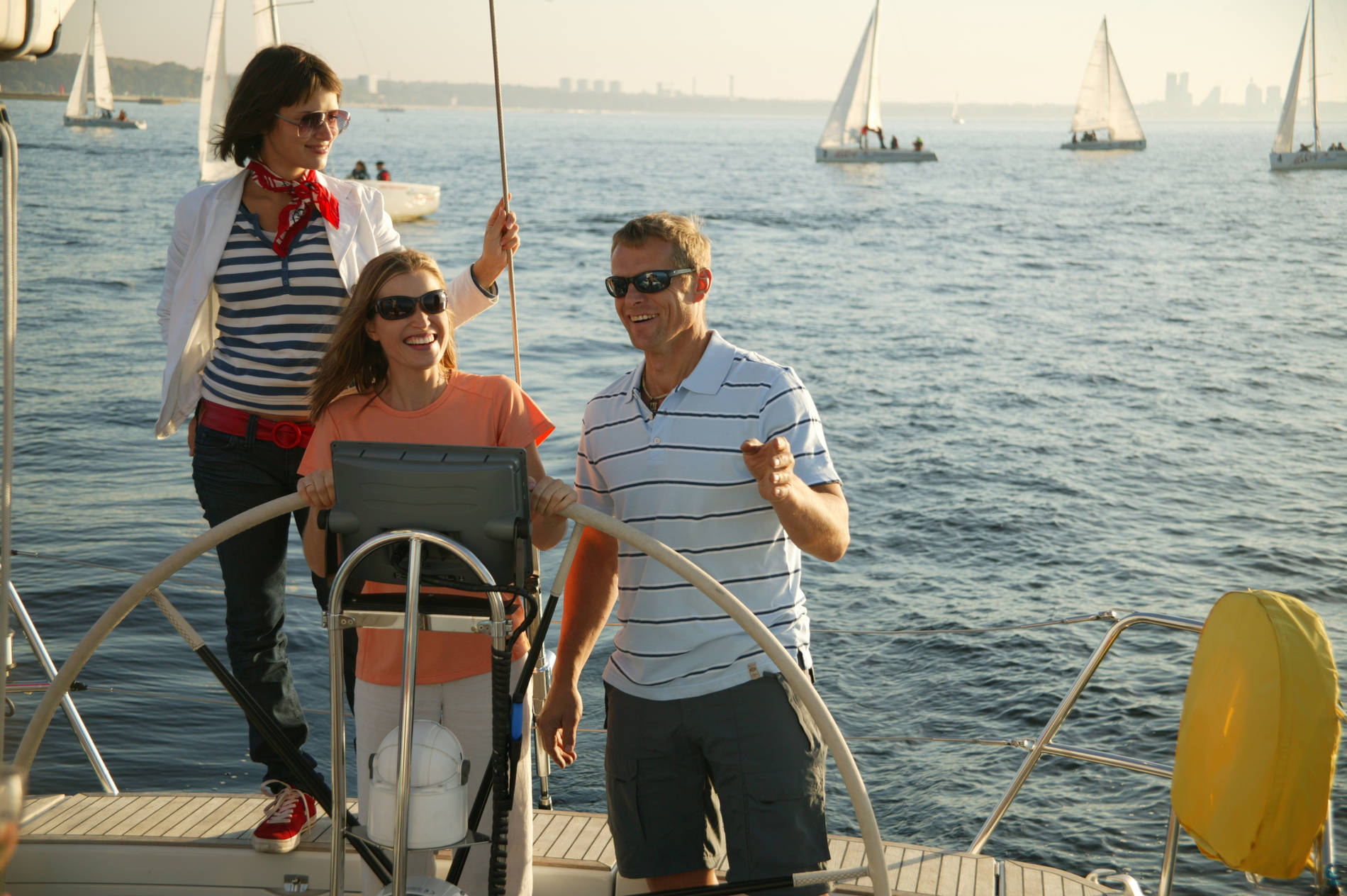 People sailing on a yacht at the Pirita harbour in Tallinn, Estonia