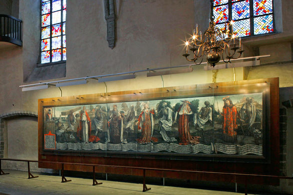 Tallinn's most famous artwork is Bernt Notke's 15th-century painting Danse Macabre (Dance with Death), a spooky depiction of people dancing with skeletons. The wall-sized work is on display in St. Nicholas' Church.