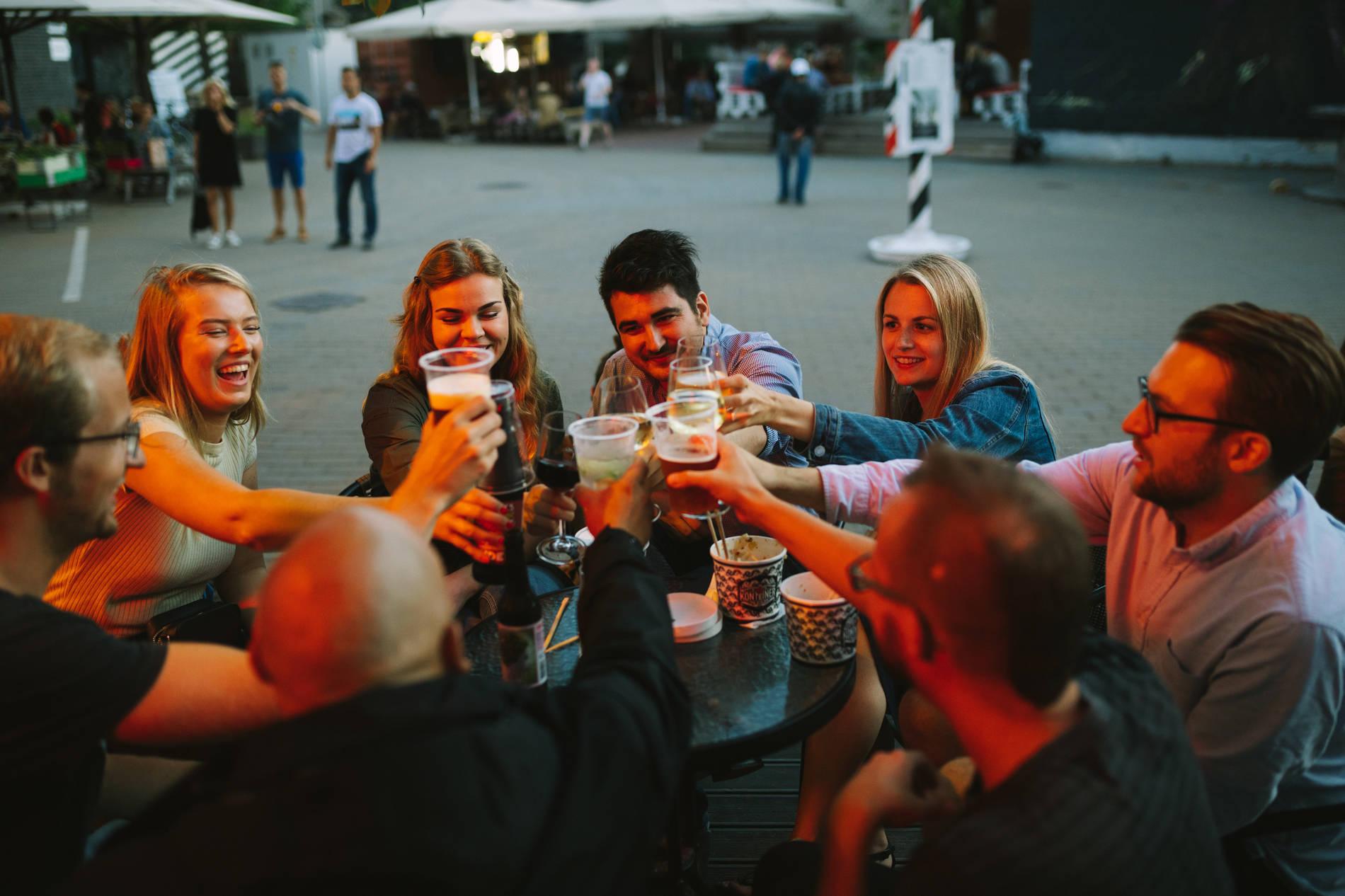 Friends in a bar in Telliskivi