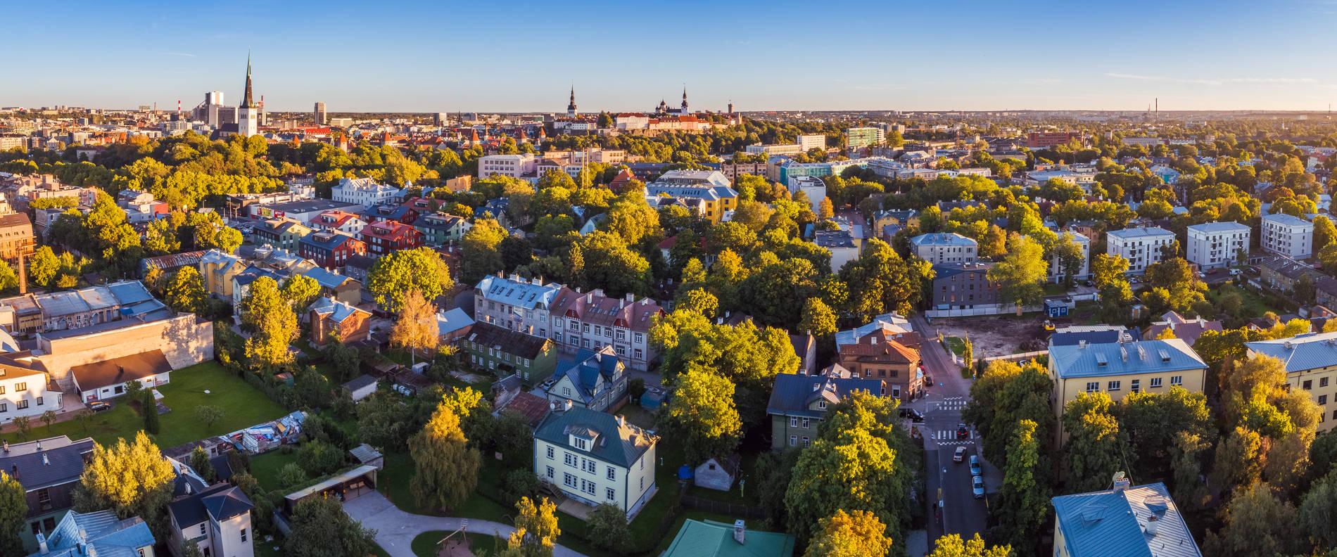 Aerial view of Kalamaja, a green and bohemian neighbourghood in Tallinn, Estonia
