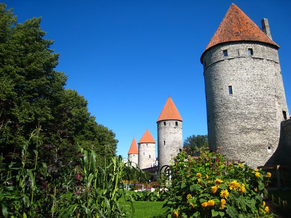 External view of the Tornide väljak (Towers' Square) in the Old Town of Tallinn, Estonia.