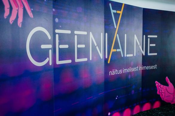 Exhibition poster for Geeniaalne, an exhibition about genes in the Tallinn TV Tower