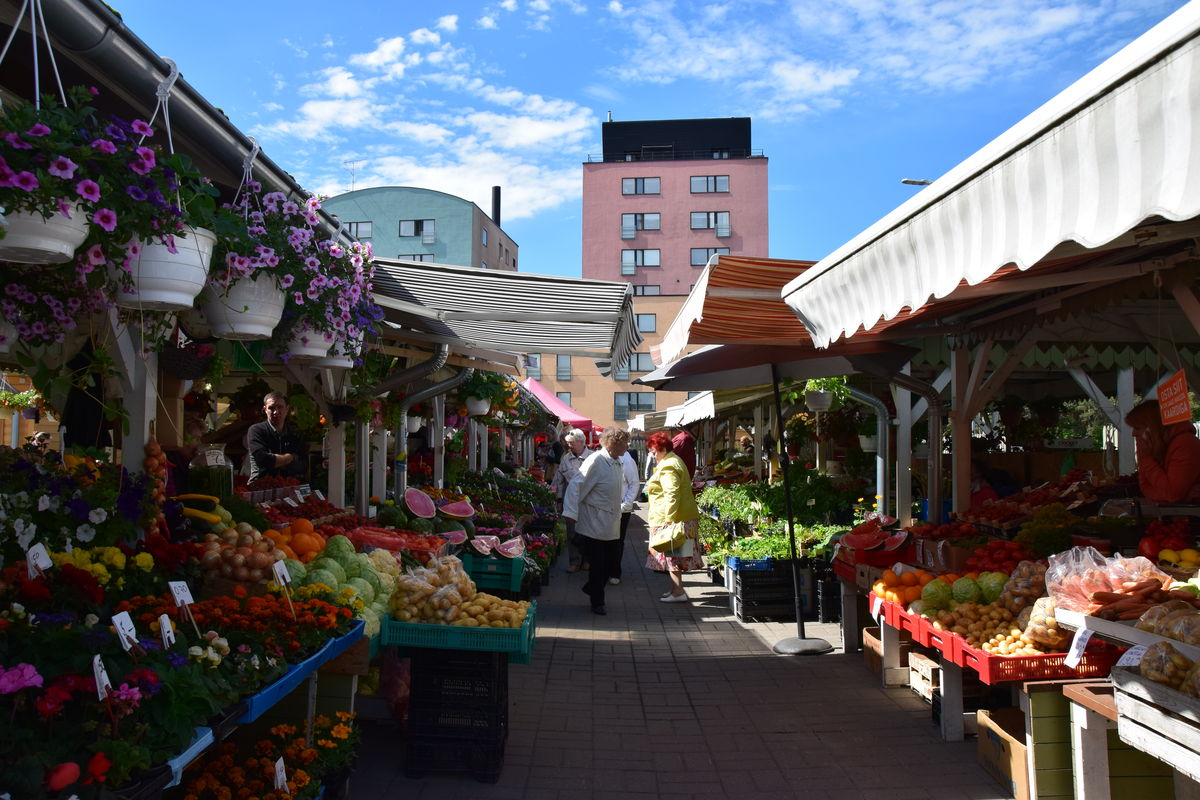 External view of the Nõmme Market in Tallinn, Estonia.