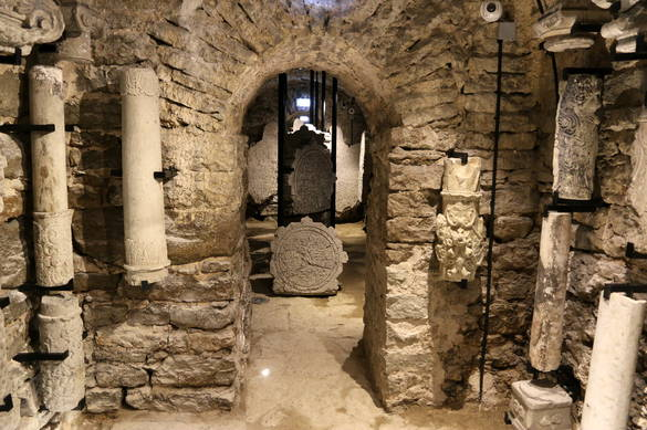 Interior view of the Carved Stone Museum in the Old Town of Tallinn, Estonia